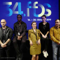 Tag 3 – Die Gäste des Kurzfilmprogramms (Be)Herrscht Janosch Kosack, Nosa Igbenidion, Sofiia Melnyk und Thomas Magneron mit Teammitglied Irina
